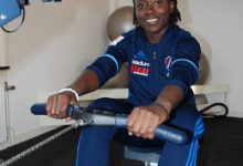 Elisabeth Addo är träningsvillig och missar ogärna ett fyspass i roddmaskinen.