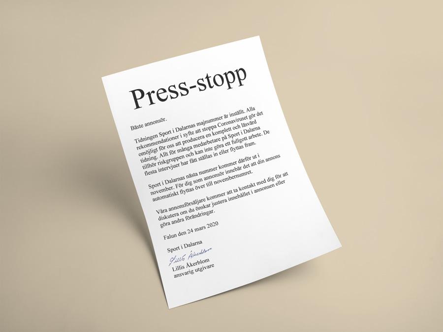 Press-stopp
